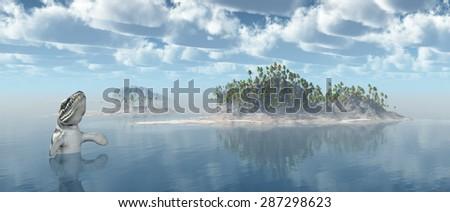 Ocean landscape with the prehistoric crocodile Dakosaurus Computer generated 3D illustration - stock photo
