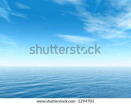 ocean's horizon in a summer morning - stock photo