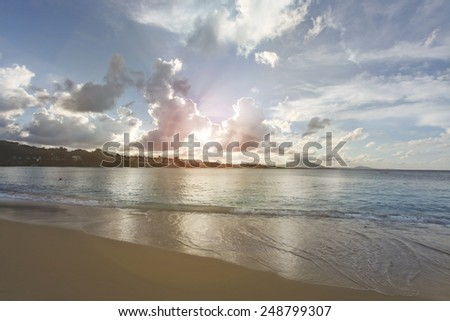 ocean shore coast beach seashore seacoast shoreline landfall island wave tide ripple billow turquoise sky heaven palate cloud horizon - stock photo