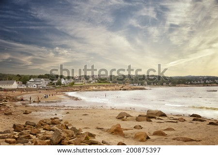 Ocean view at Rockport, MA - stock photo