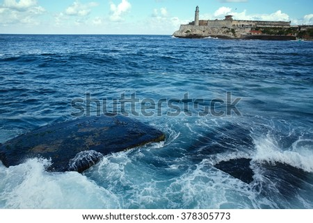 Ocean view from the central waterfront of Havana - stock photo