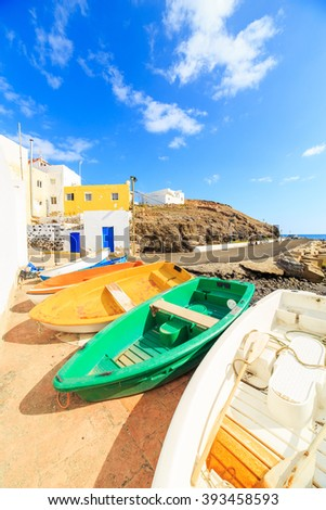 Ocean view in a small fishing villiage Tarajalejo, Fuerteventura - stock photo
