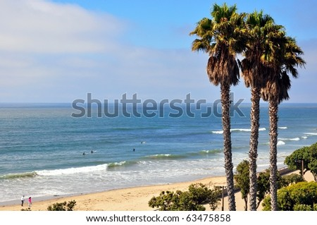 Ocean view with palm trees and promenade - stock photo