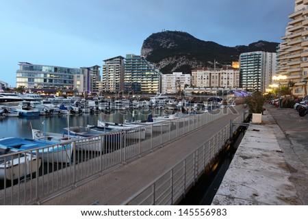 Ocean Village marina in Gibraltar - stock photo