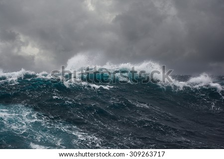 ocean wave in the indian ocean during storm - stock photo