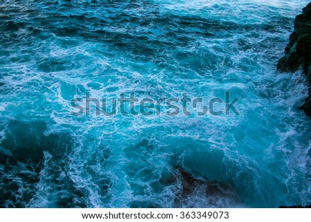 ocean wave in the ocean during storm - stock photo