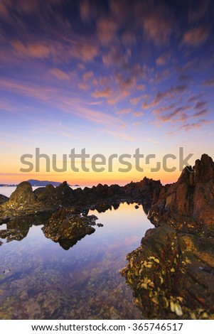 Ocean wave seascape beautiful landscape of sunset beach Phuket thailand - stock photo