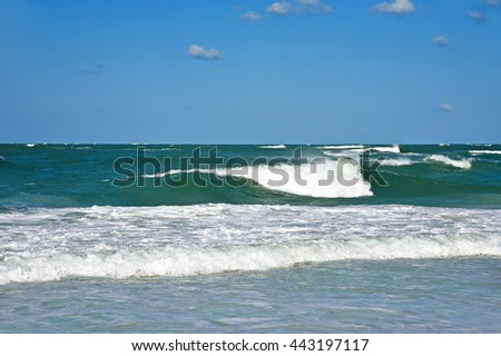 Ocean Waves in the Gulf of Mexico on the Sandy Beaches of Anna Maria Island - stock photo
