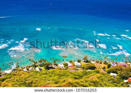 Oceanfront house in Oahu,Hawaii - stock photo