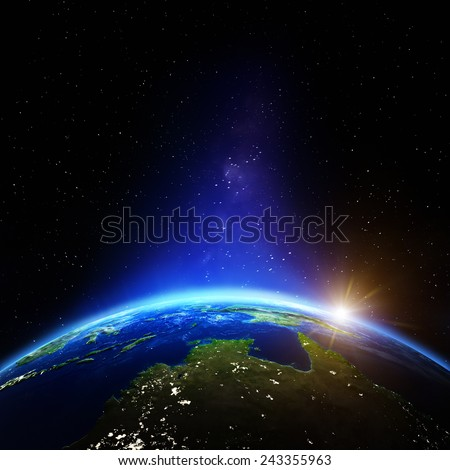 Oceania and Australia night. Elements of this image furnished by NASA - stock photo