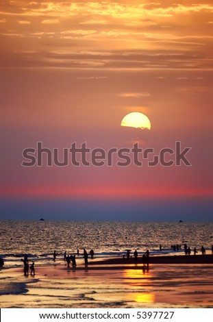 Oceanic sunset - stock photo