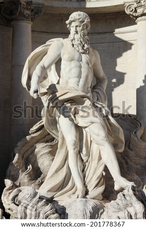Oceanus in the Trevi Fountain of Rome, Italy - stock photo