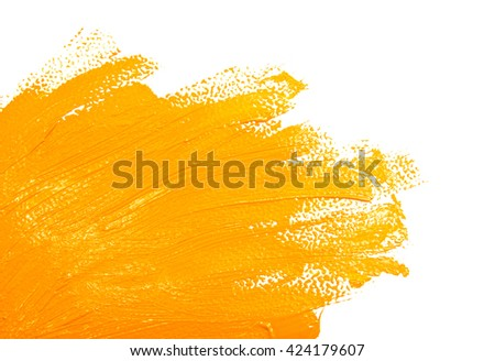 Ochre strokes of the paint brush isolated on a white - stock photo