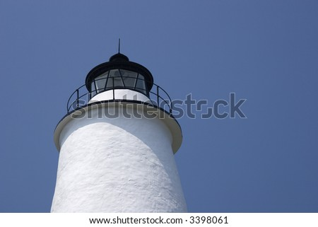 Ocracoke Lighthouse Tower Top - stock photo