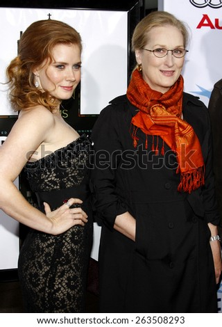 "October 30, 2008. Amy Adams and Meryl Streep at the 2008 AFI FEST Opening Night Gala Presentation of ""Doubt"" held at the ArcLight Theater, Hollywood.  - stock photo"
