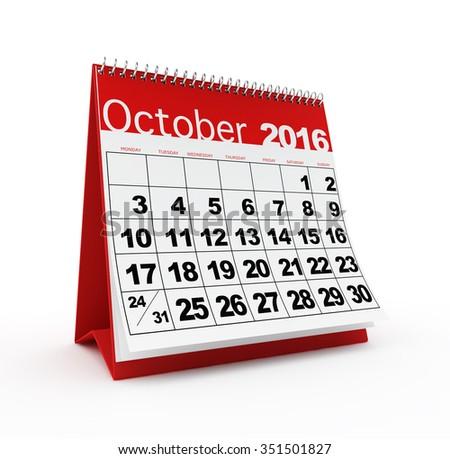 October 2016 calendar - stock photo