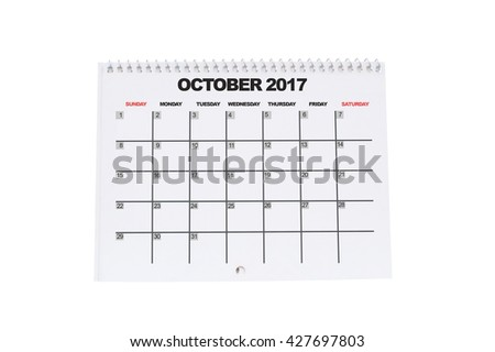October 2017 Calendar isolated on white background - stock photo