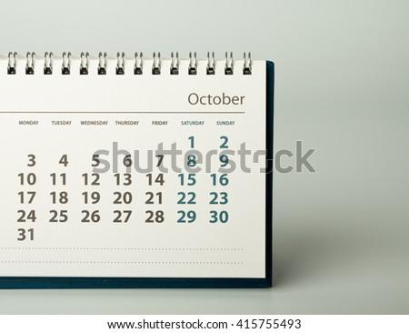October. Calendar sheet. Calendar of the year two thousand sixteen. - stock photo