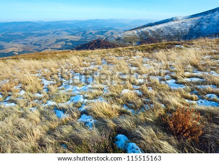 October Carpathian mountain plateau with first winter snow - stock photo