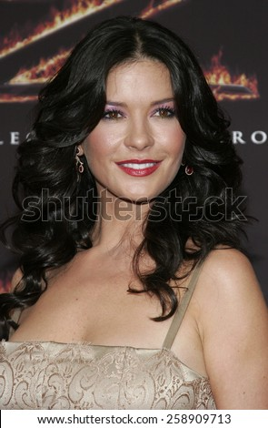 "October 16, 2005. Catherine Zeta-Jones at the Columbia Pictures' ""The Legend of Zorro"" Los Angeles Premiere at the Orpheum Theatre in Los Angeles downtown, California United States.  - stock photo"