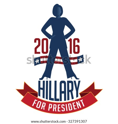 October 14, 2015: Illustration showing Democrat presidential candidate Hillary Clinton for President 2016.  - stock photo