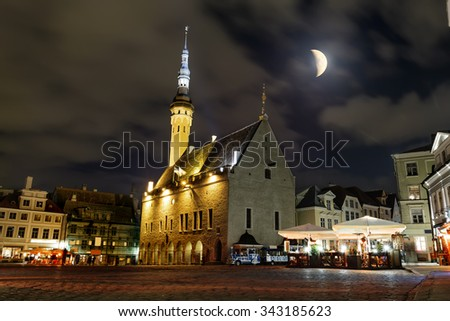 October 11, 2015.Tallinn.View of the town hall and town hall square in old Tallinn in the evening illumination .Estonia. - stock photo