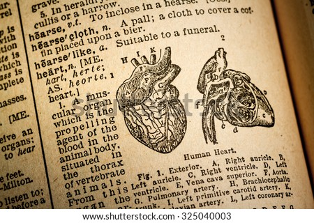 October 7th, 2015 - Montreal, Canada. Old and Vintage 1945 English Webster Dictionary. Illustration and Definition of the word hearth. - stock photo