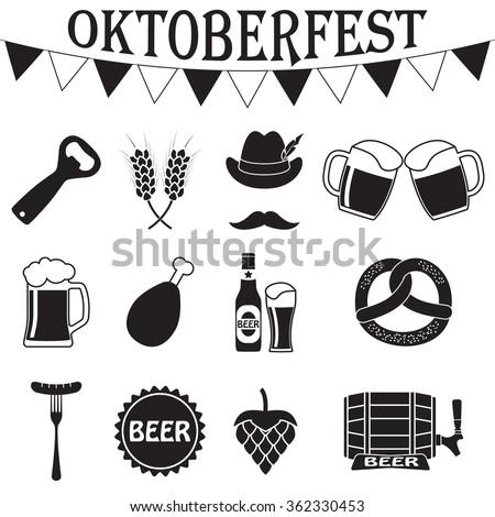 Octoberfest icon set. German food and beer symbols. Oktoberfest beer festival flat icons design - stock photo