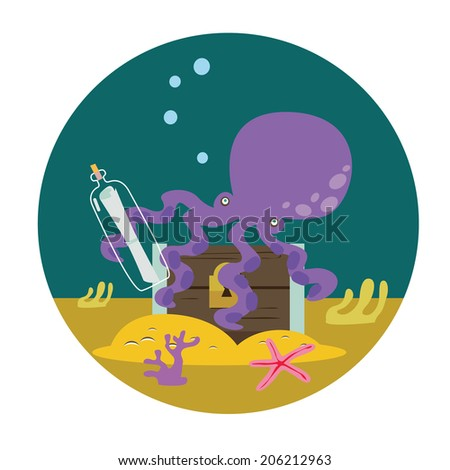 Octopus with chest with treasures Raster version - stock photo