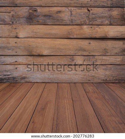 Od wood wall and wood floor  - stock photo