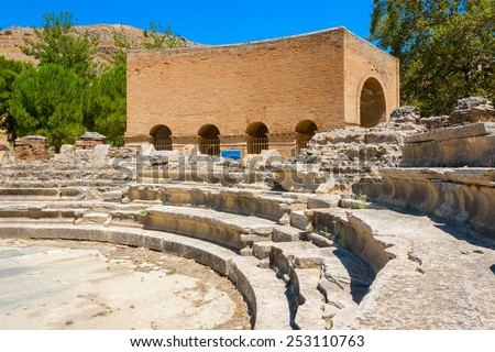 Odeon ( buildings built for music) in ancient site of Gortyn. Messara Plain, Crete, Greece - stock photo