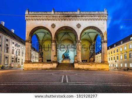 Odeonplatz and Feldherrnhalle in the Evening, Munich, Bavaria, Germany - stock photo