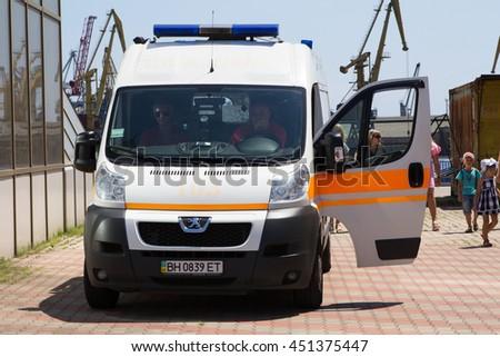 Odesa, Ukraine - July 03, 2016: Ambulance on the pier of port  . Navy day celebration. - stock photo