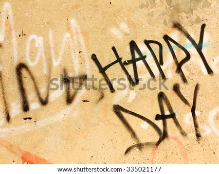ODESSA - NOVEMBER 1: Detail of graffiti on the wall of the old building. Grungy concrete surface with cracks, scratches and streaks of paint. November 1, 2015 in Odessa, Ukraine - stock photo