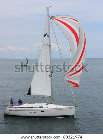 ODESSA, UKRAINE - JULY 3: Unidentified sailing ship competes during the sailing ships regatta The Cup Of Black Sea Harbors on July 3, 2011 in Odessa, Ukraine - stock photo