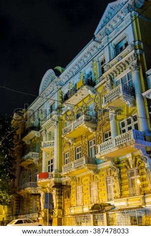ODESSA, UKRAINE - MAY 17, 2015: The richly decorated facades of the mansions of the city are the characteristic of the city architecture, on May 17 in Odessa. - stock photo