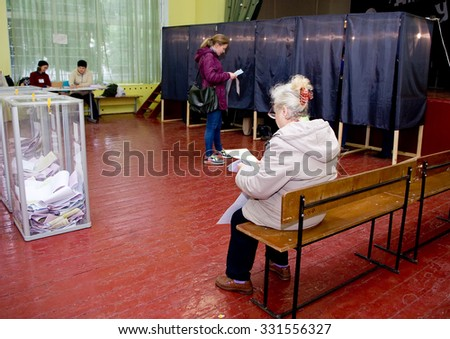 Odessa, Ukraine - 25 October 2015: place for people of voting voters in the national political elections in Ukraine. Polling station - stock photo