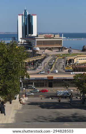 ODESSA/UKRAINE 10TH OCTOBER 2007 - The Odessa hotel and cruise port seen from the Potemkin Steps - stock photo