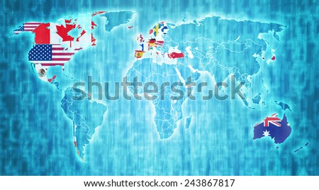 OECD flag on blue digital world map with actual national borders - stock photo