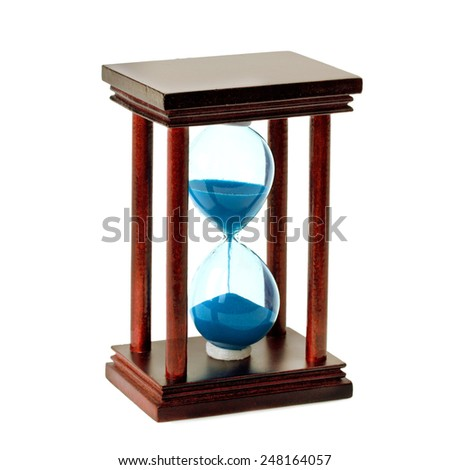 of glass hourglass isolated on white background - stock photo