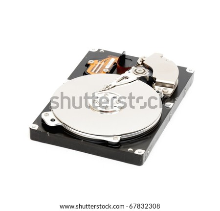 of Hard disk drive HDD isolated on white background with soft shadow. - stock photo