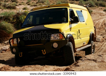 Off-roading in White Rim Canyon, Canyonlands, Utah, USA - stock photo