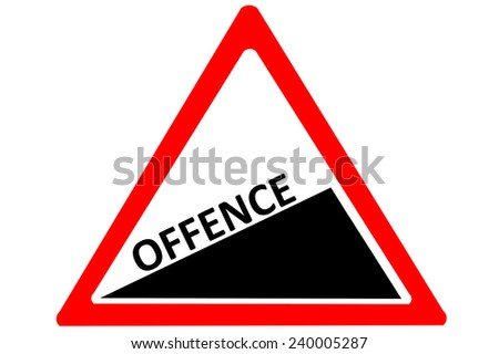 Offense crime increase warn roadsign isolated on pure white background - stock photo