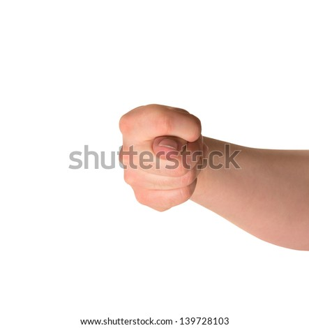 Offensive abusive dulya of fig sign caucasian hand gesture isolated over white background - stock photo