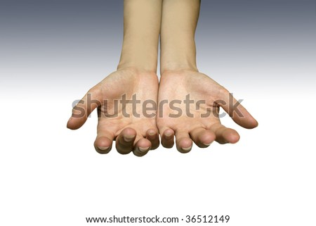 Offering hands isolated on grey gradient background ideal for adding objects inside them for many purposes. - stock photo