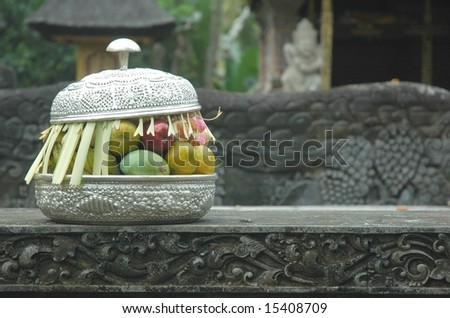 Offering in a Bali temple - stock photo