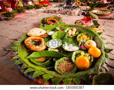 Offerings made to Hindu gods during a traditional Hindu Nepali Wedding - stock photo