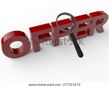 Offers - 3D Text with magnifier over white background - stock photo