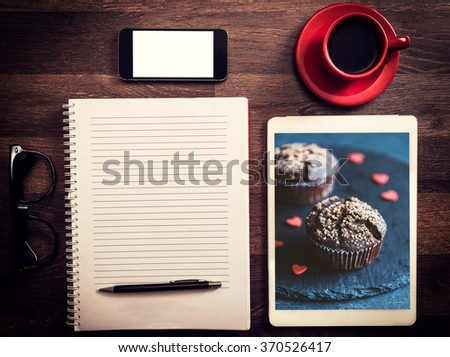 Office and love concept with photos of chocolate muffins - stock photo