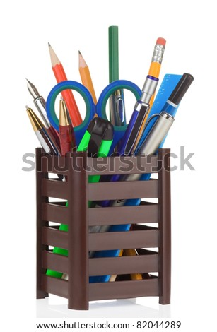 office and school accessories in holder isolated on white background - stock photo